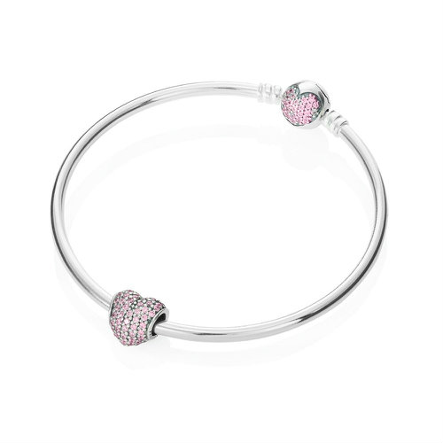2018 Pandora Sparkling Heart Bangle B800029