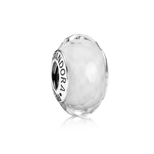 2018 Pandora White Faceted Murano Glass Charm 791070